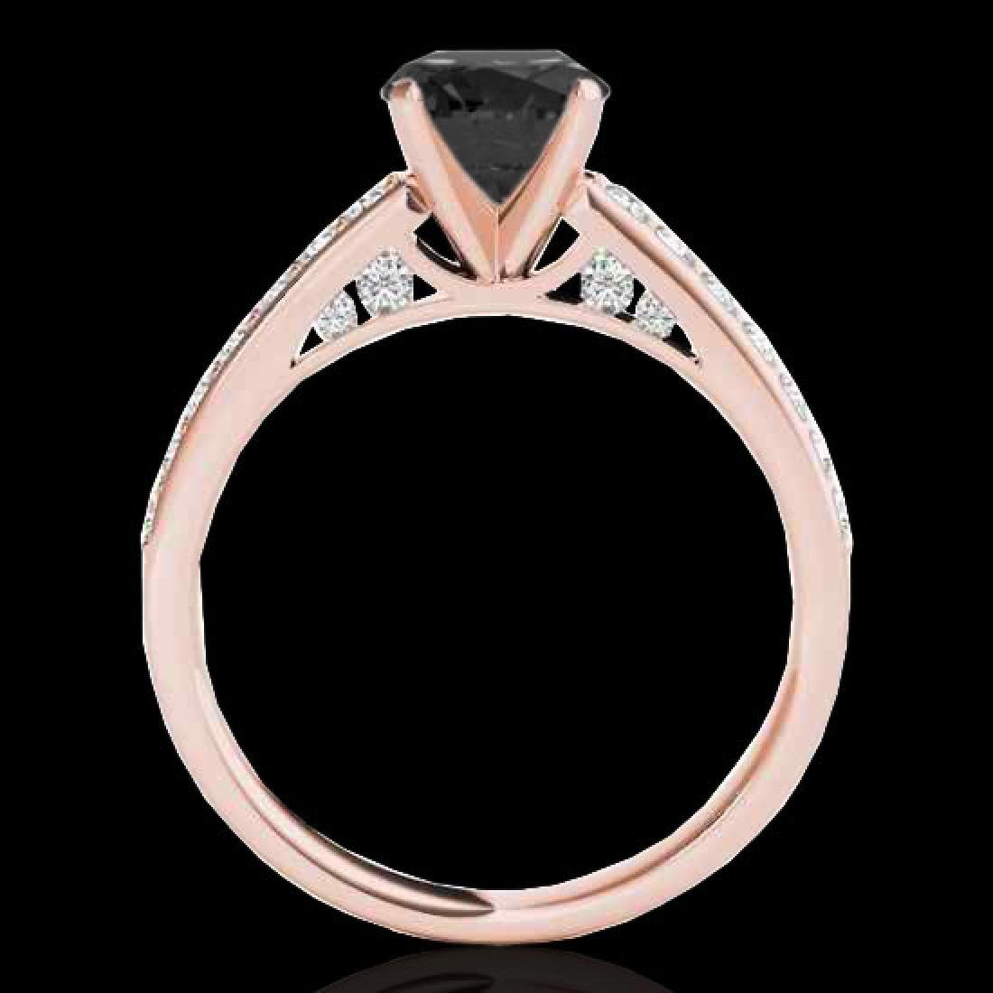 1.5 CTW Certified VS Black Diamond Solitaire Ring 10K - 2