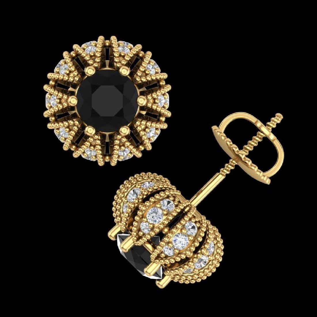 2.01 CTW Fancy Black Diamond Art Deco Micro Pave Stud - 2