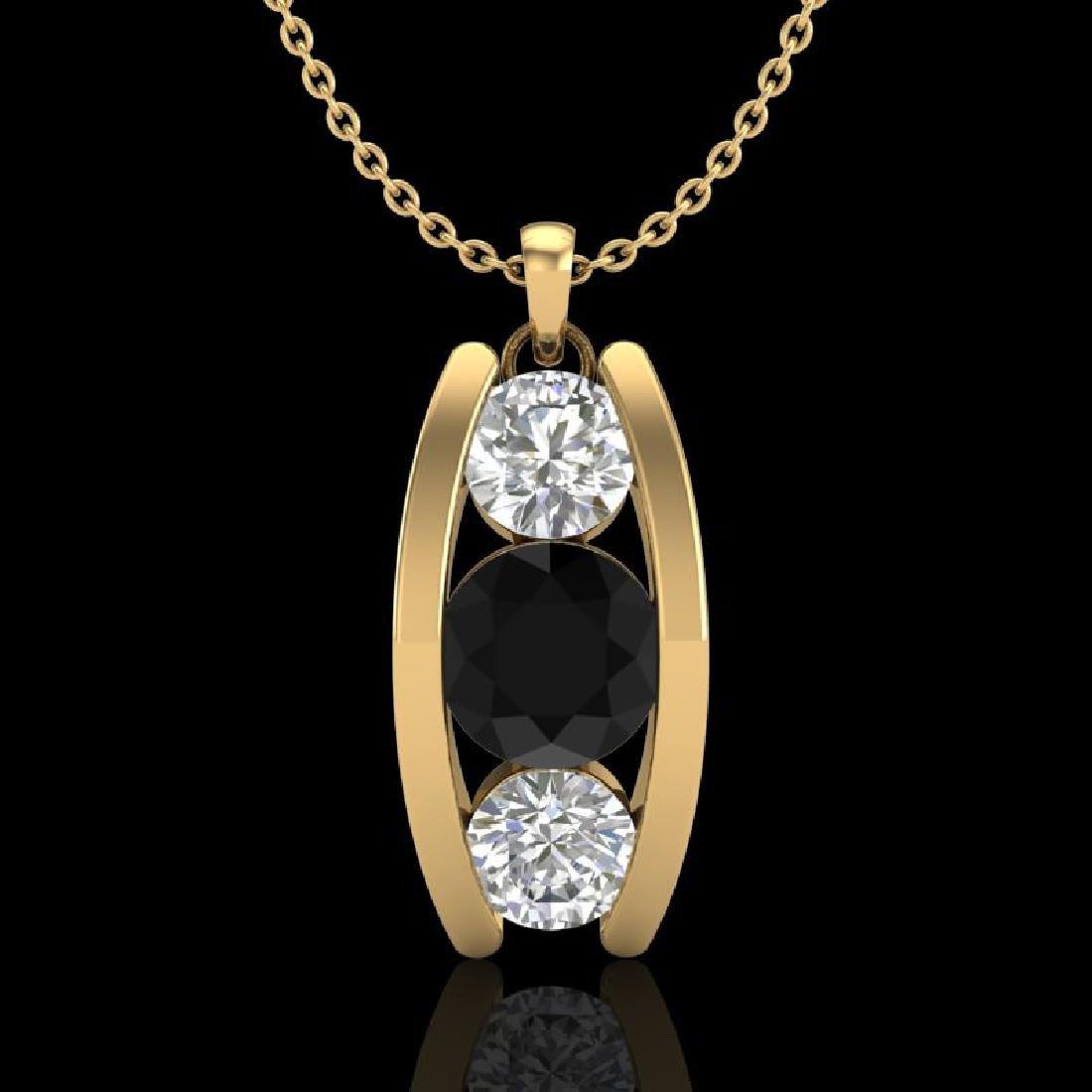 1.07 CTW Fancy Black Diamond Solitaire Art Deco Stud