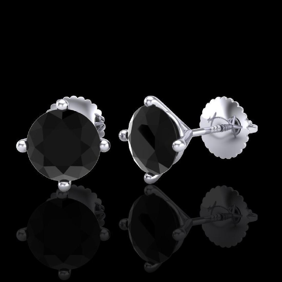 2 CTW Fancy Black Diamond Solitaire Art Deco Stud - 2