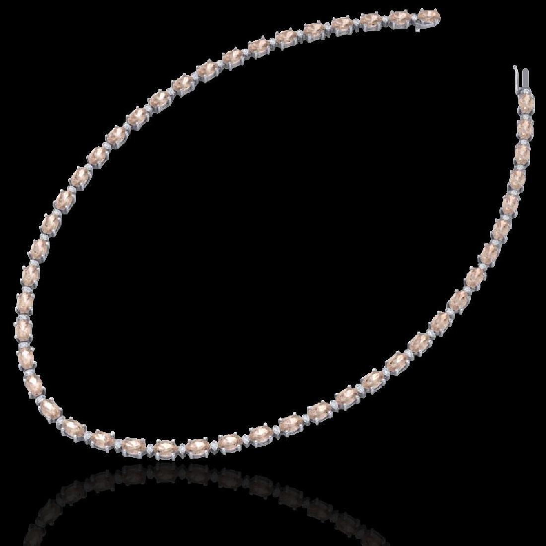 49.85 CTW Morganite & VS/SI Certified Diamond Eternity - 2