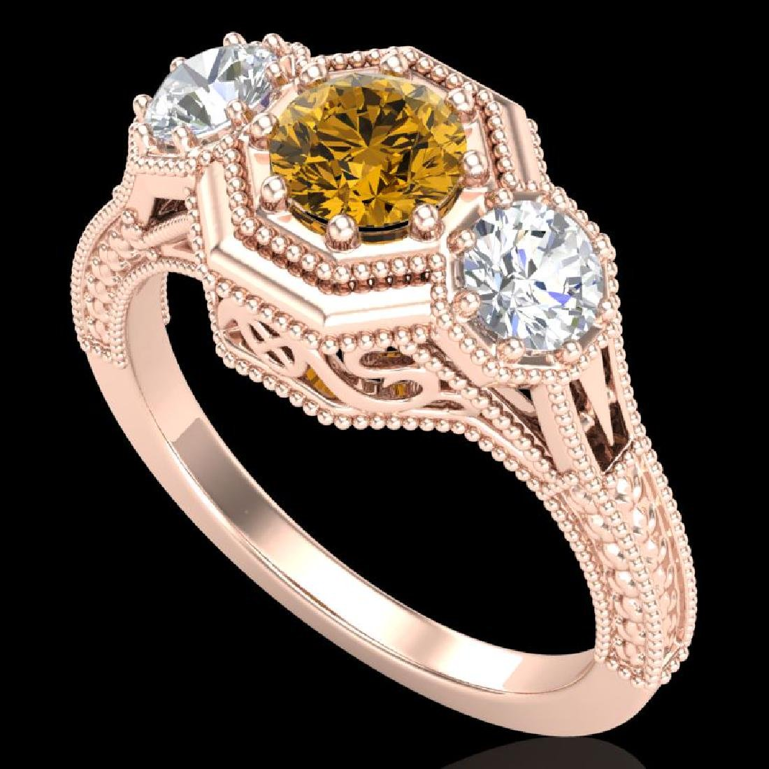 1.05 CTW Intense Fancy Yellow Diamond Art Deco 3 Stone