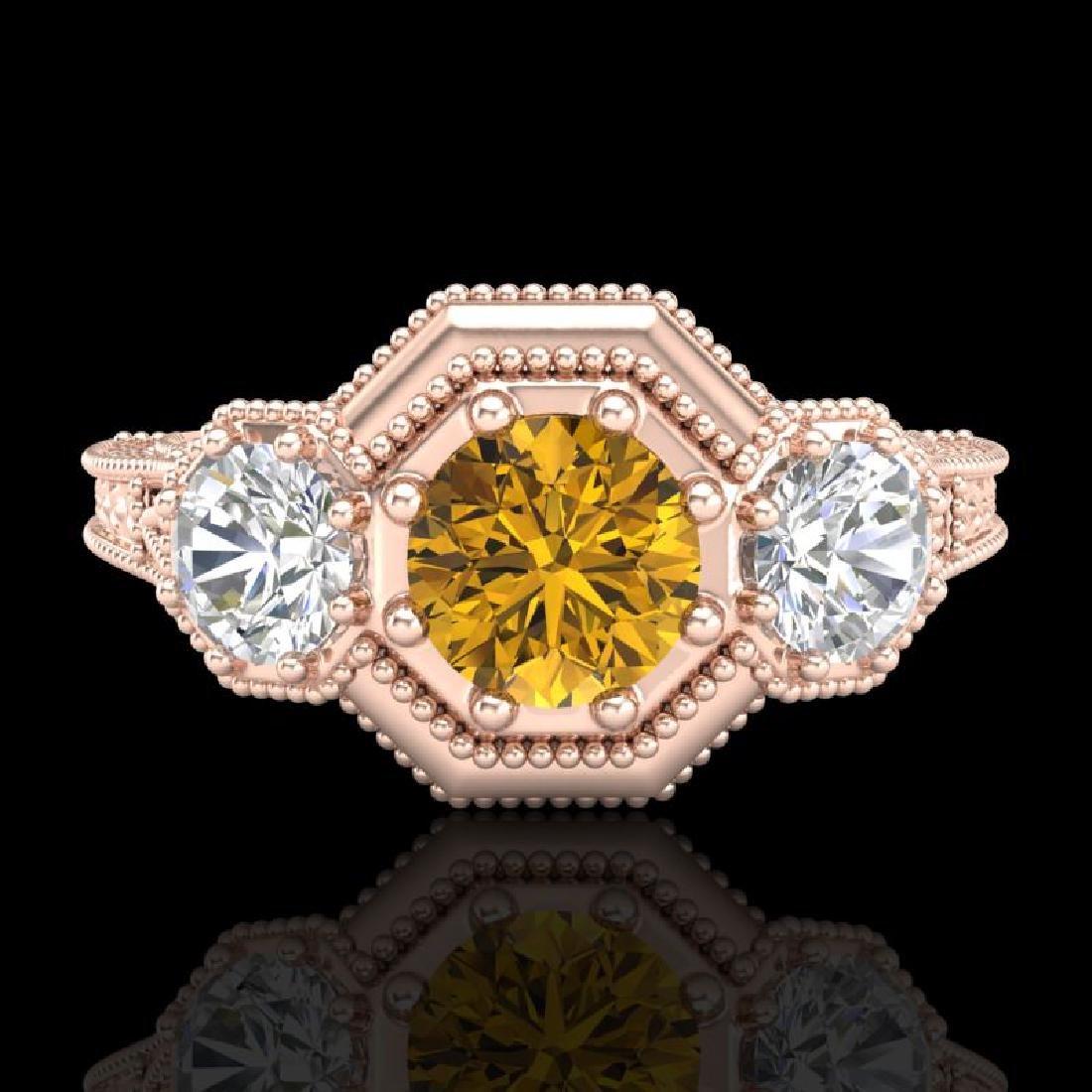 1.05 CTW Intense Fancy Yellow Diamond Art Deco 3 Stone - 2