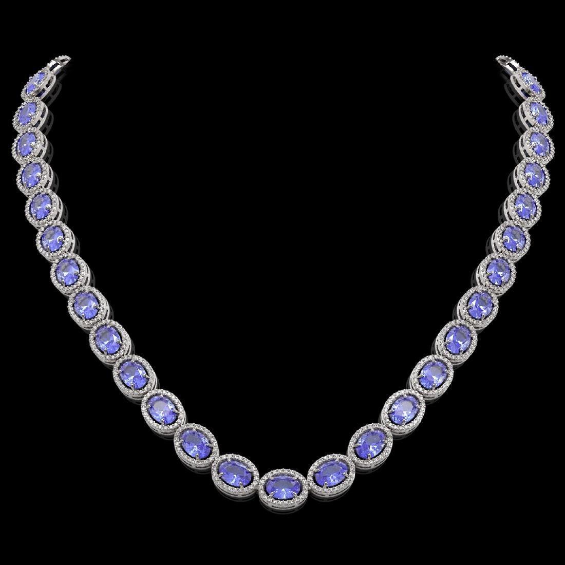 48.65 CTW Tanzanite & Diamond Halo Necklace 10K White
