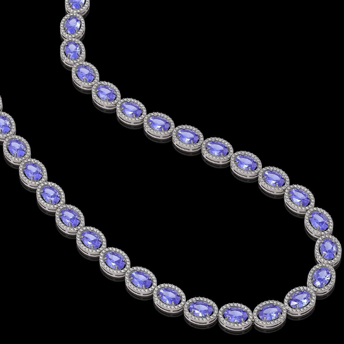 48.65 CTW Tanzanite & Diamond Halo Necklace 10K White - 2