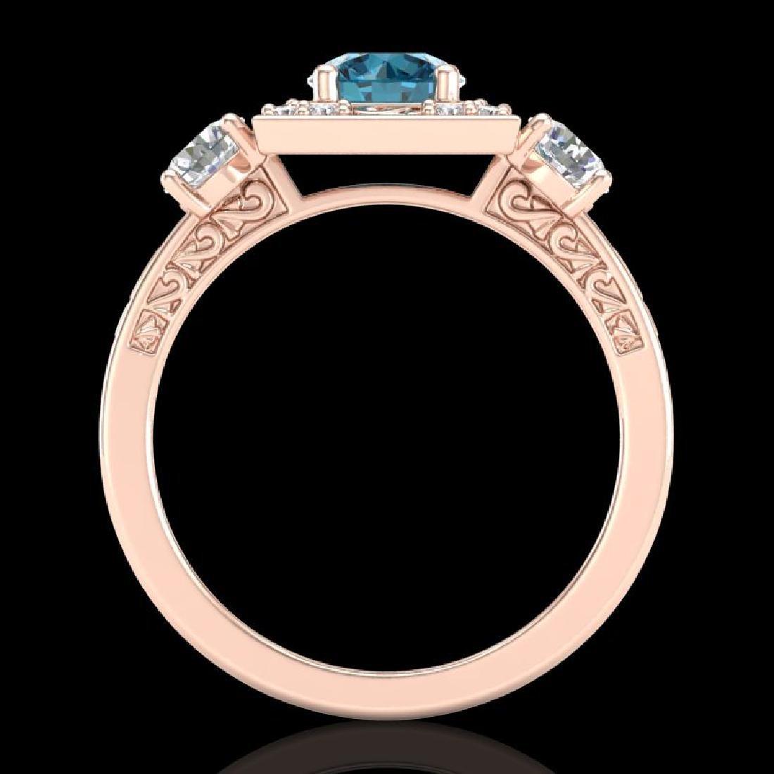 1.55 CTW Intense Blue Diamond Solitaire Art Deco 3 - 3