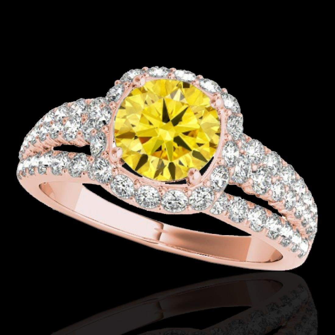 2 CTW Certified SI/I Fancy Intense Yellow Diamond