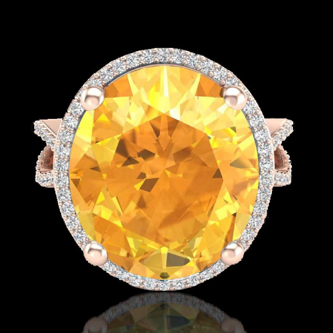 10 CTW Citrine & Micro Pave VS/SI Diamond Halo Ring 14K