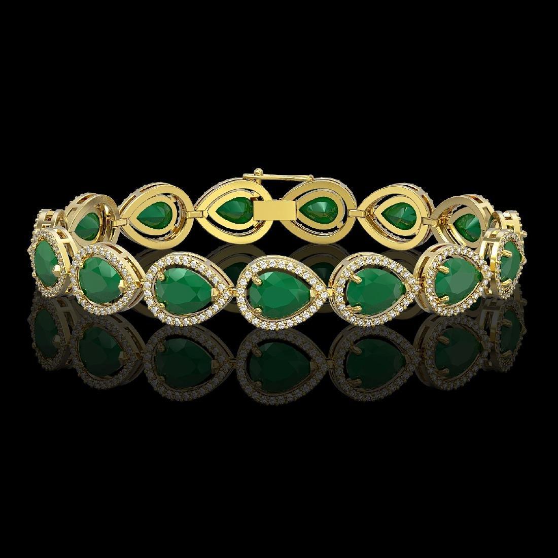 30.06 CTW Emerald & Diamond Halo Bracelet 10K Yellow