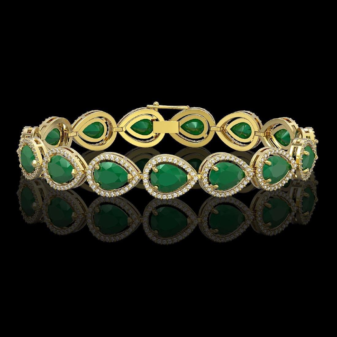 30.06 CTW Emerald & Diamond Halo Bracelet 10K Yellow