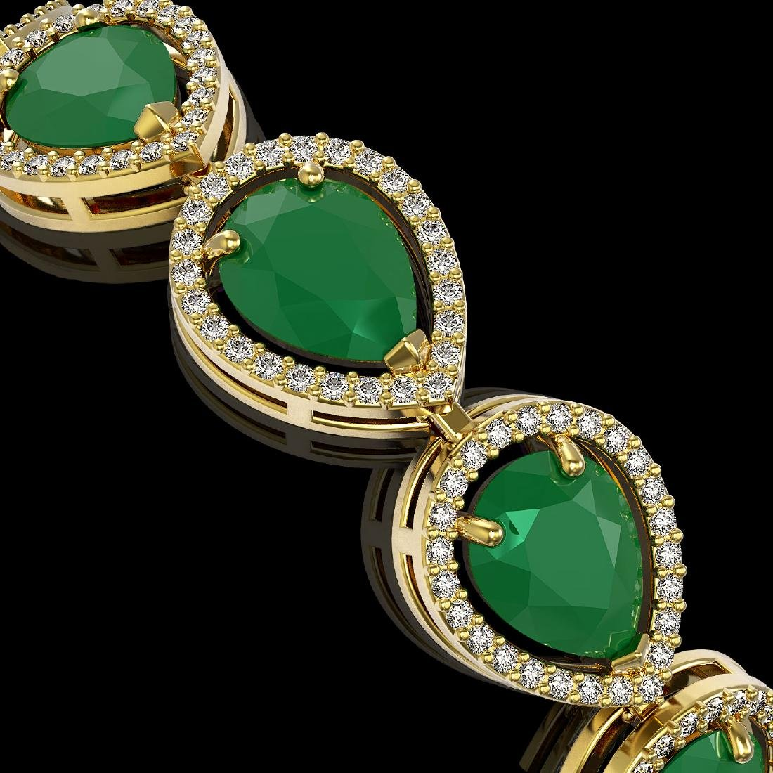30.06 CTW Emerald & Diamond Halo Bracelet 10K Yellow - 3