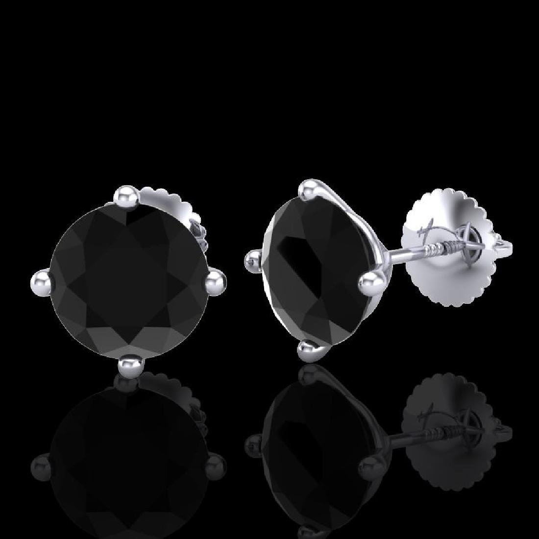 3.01 CTW Fancy Black Diamond Solitaire Art Deco Stud - 2