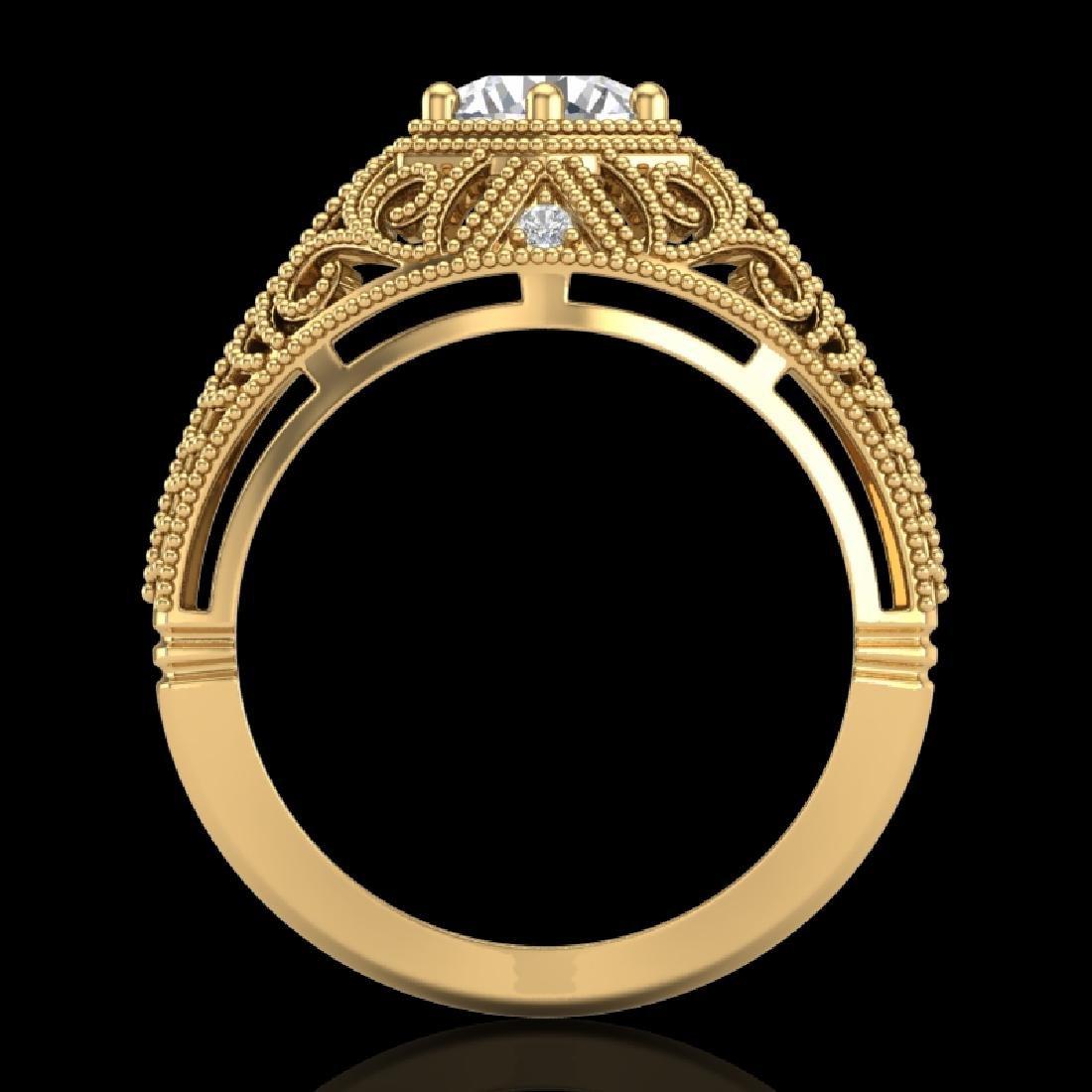 1.07 CTW VS/SI Diamond Solitaire Art Deco Ring 18K