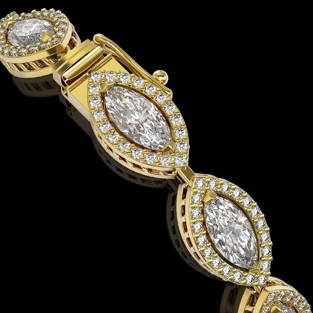 10.61 CTW Marquise Diamond Designer Bracelet 18K Yellow - 3