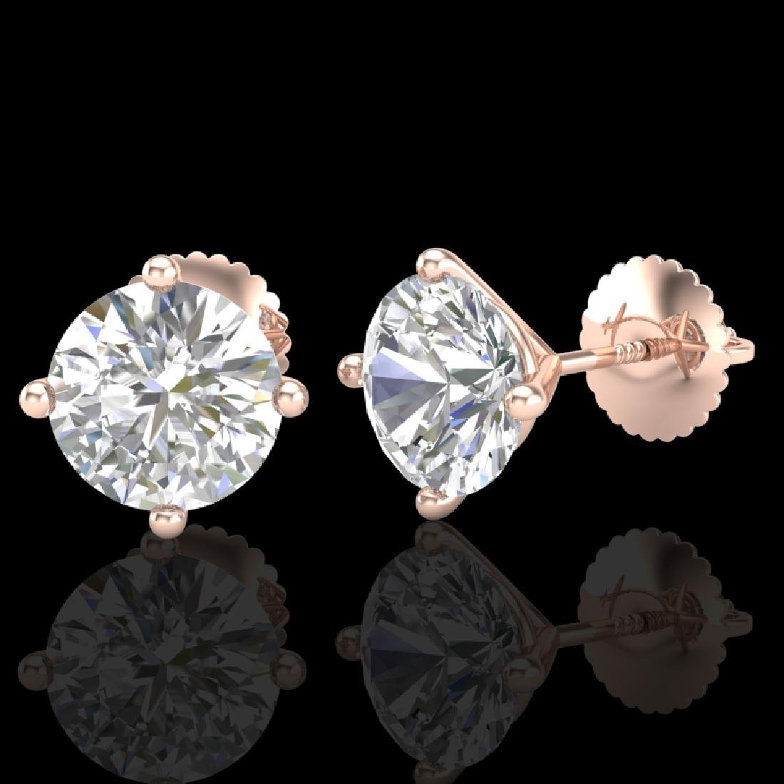 2.5 CTW VS/SI Diamond Solitaire Art Deco Stud Earrings - 2