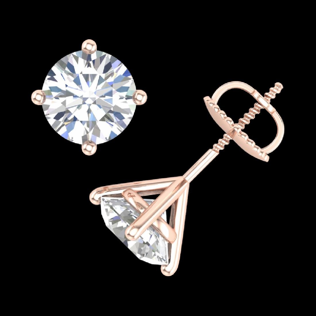 2.5 CTW VS/SI Diamond Solitaire Art Deco Stud Earrings - 3