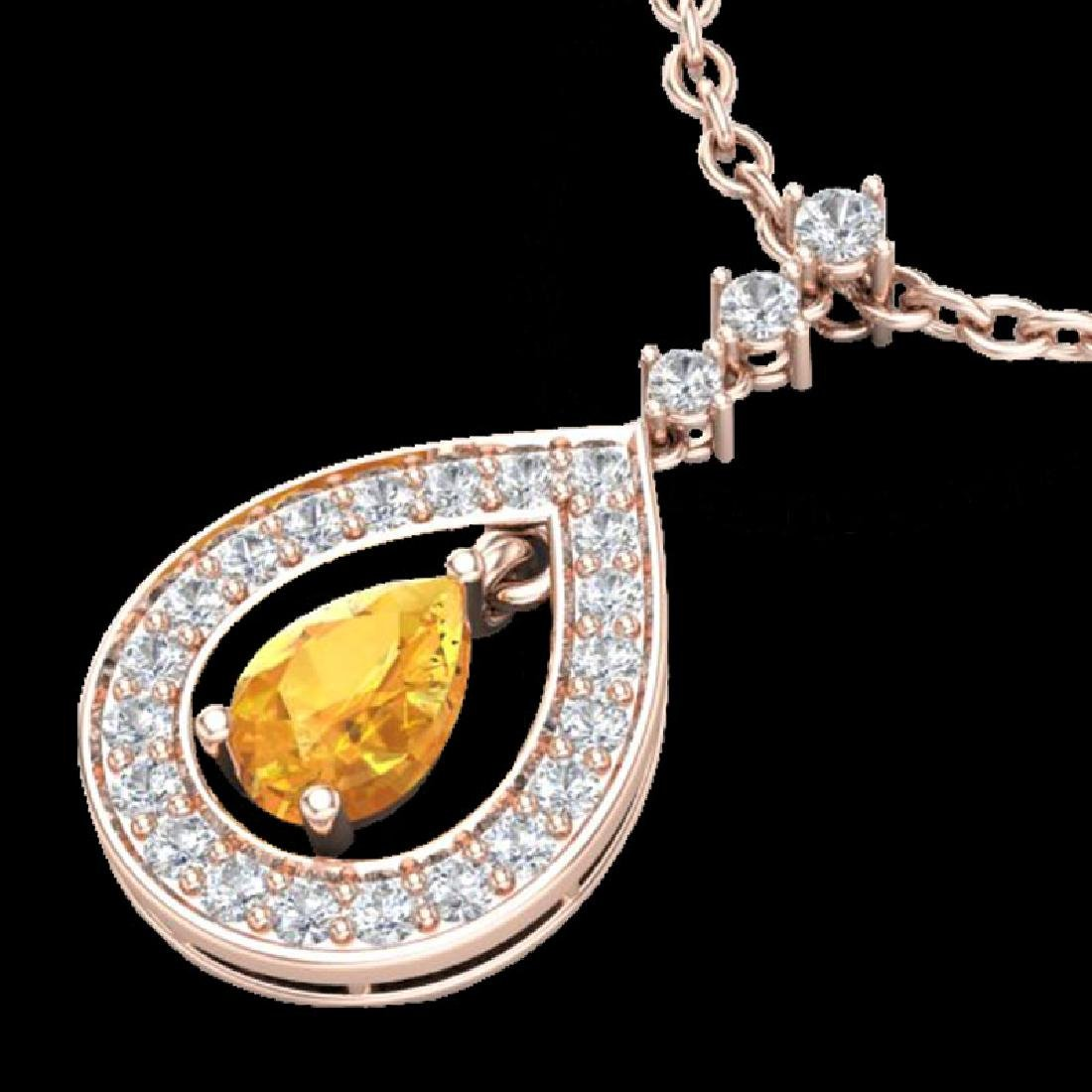 1.15 CTW Citrine & Micro Pave VS/SI Diamond Necklace