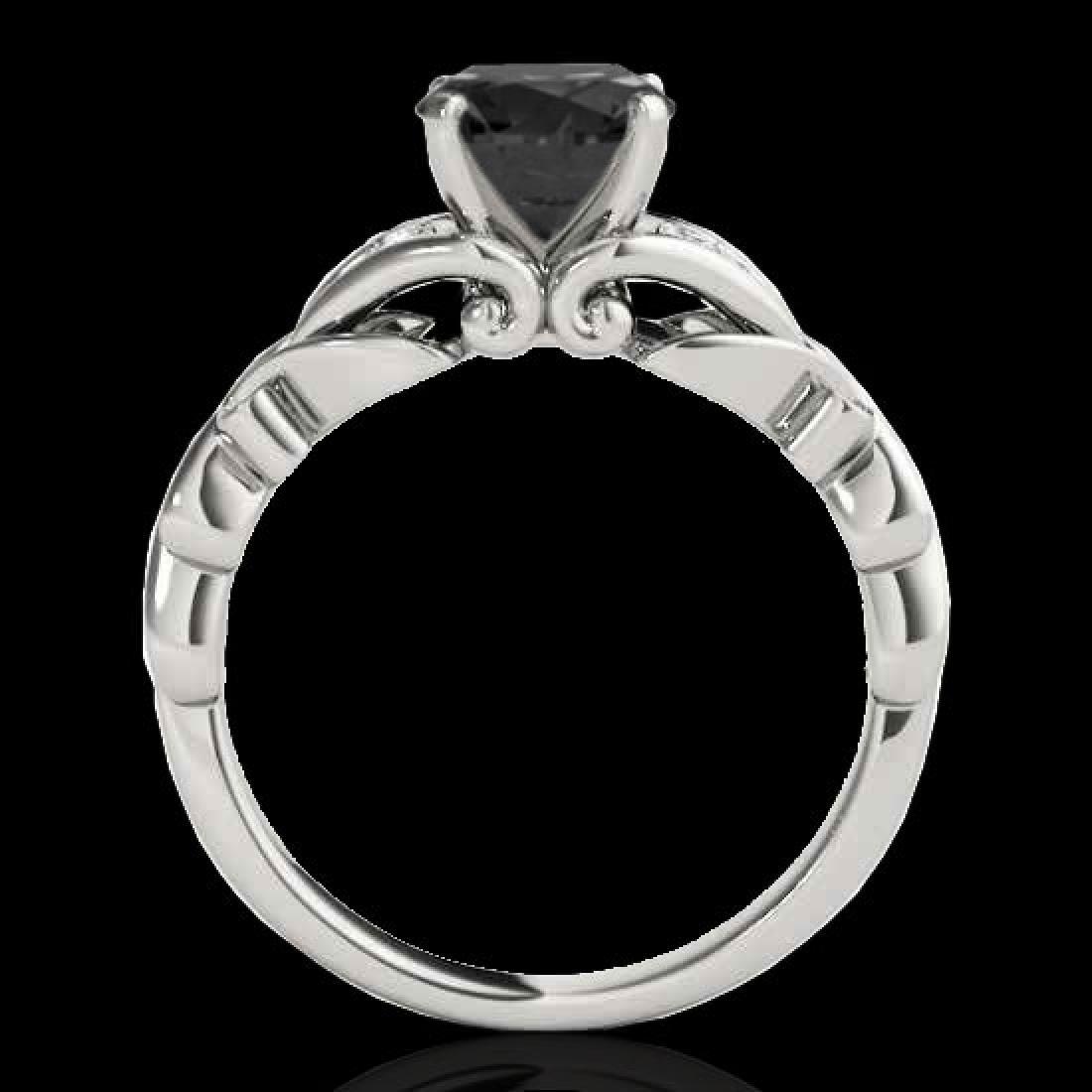 1.35 CTW Certified VS Black Diamond Solitaire Ring 10K - 2