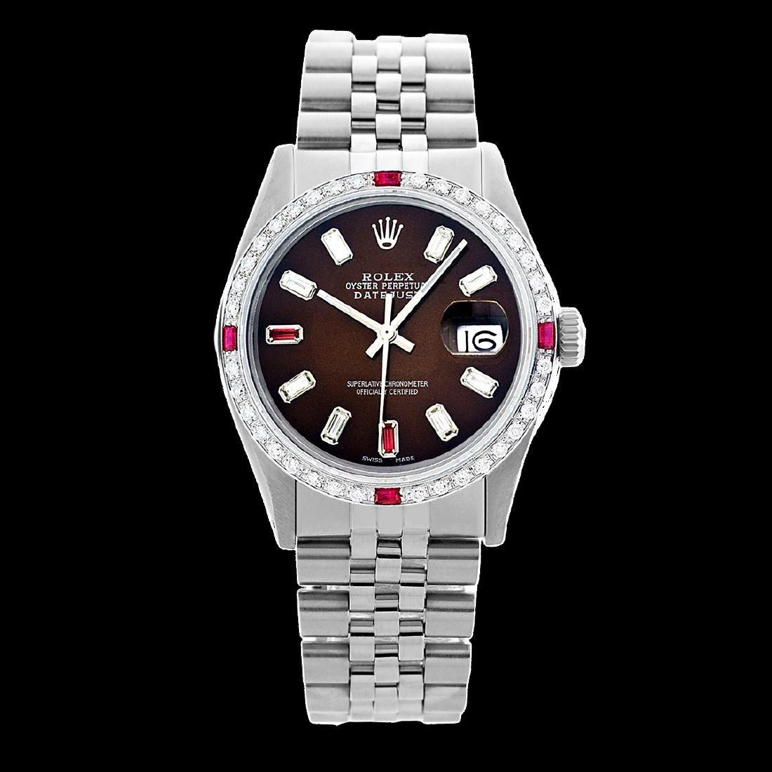 Rolex Men's Stainless Steel, QuickSet, Diam/Ruby Dial & - 2