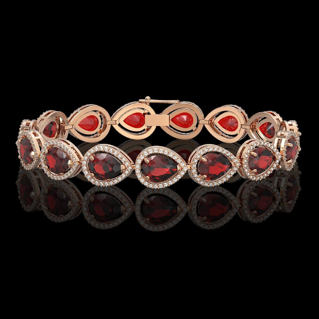 17.45 CTW Garnet & Diamond Halo Bracelet 10K Rose Gold