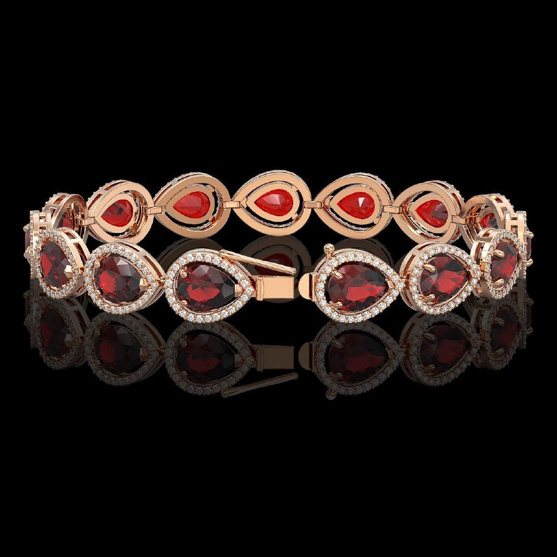 17.45 CTW Garnet & Diamond Halo Bracelet 10K Rose Gold - 2