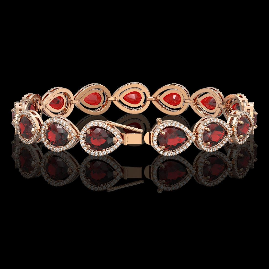 17.45 CTW Garnet & Diamond Halo Bracelet 10K Rose Gold - 2