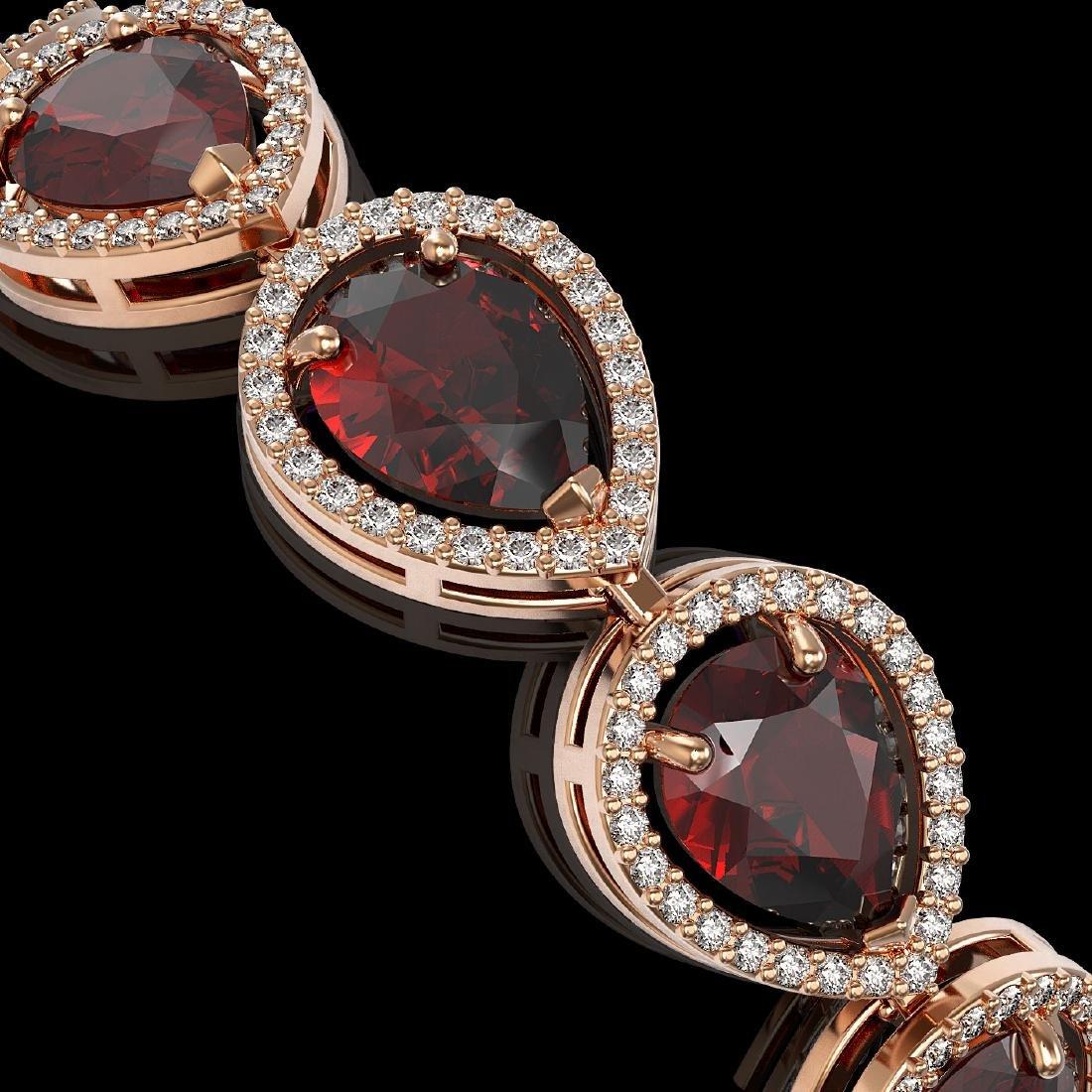17.45 CTW Garnet & Diamond Halo Bracelet 10K Rose Gold - 3
