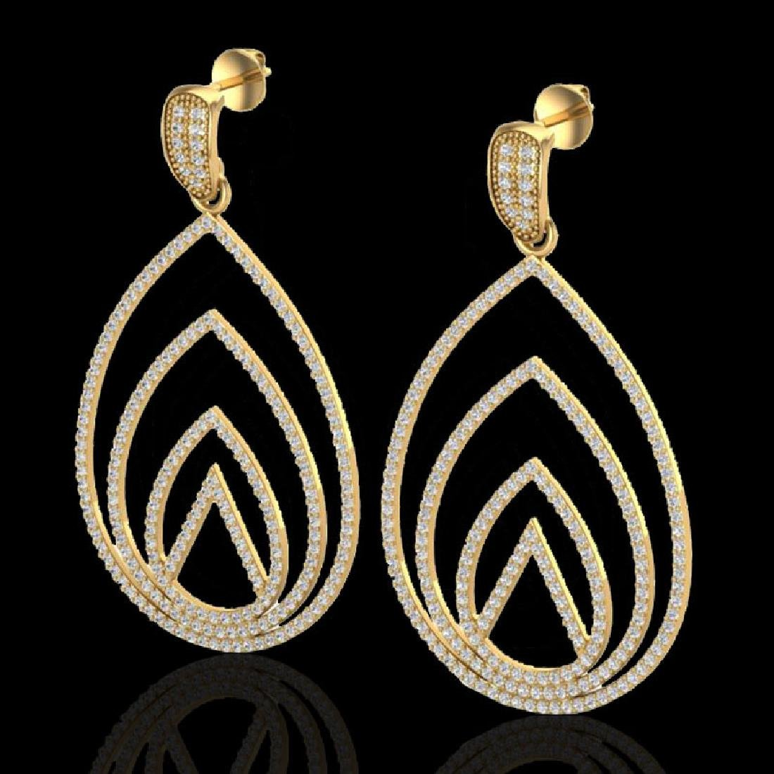 2.50 CTW Micro Pave VS/SI Diamond Designer Earrings 18K