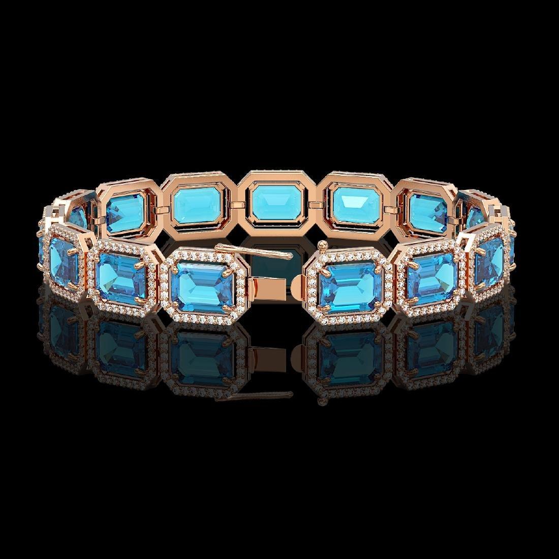 35.61 CTW Swiss Topaz & Diamond Halo Bracelet 10K Rose - 2