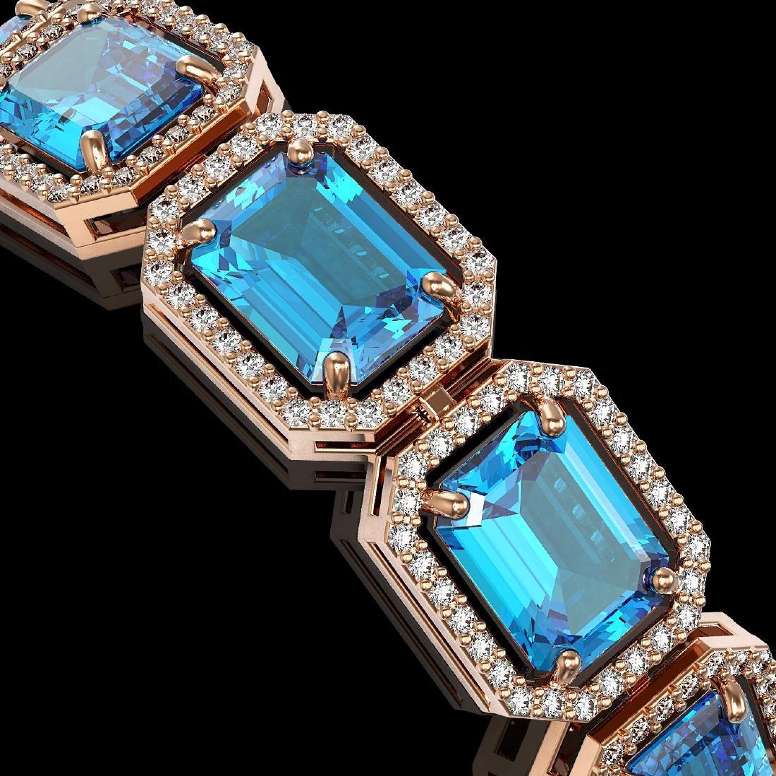 35.61 CTW Swiss Topaz & Diamond Halo Bracelet 10K Rose - 3