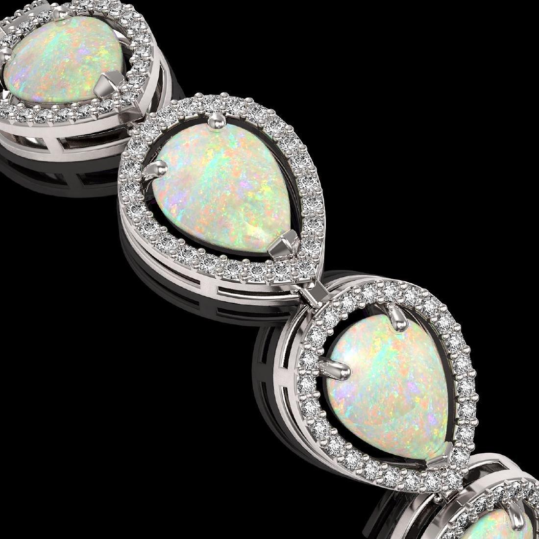 17.15 CTW Opal & Diamond Halo Bracelet 10K White Gold - 3