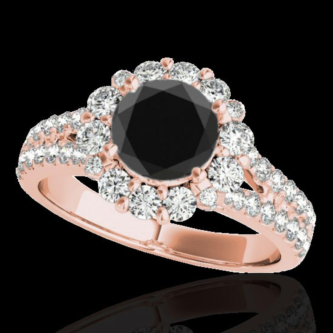 2.51 CTW Certified VS Black Diamond Solitaire Halo Ring
