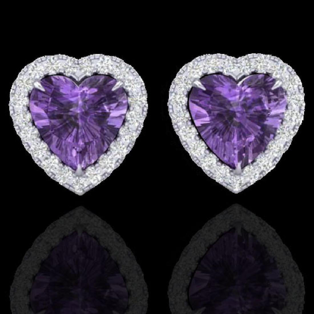 2 CTW Amethyst & Micro Pave VS/SI Diamond Earrings