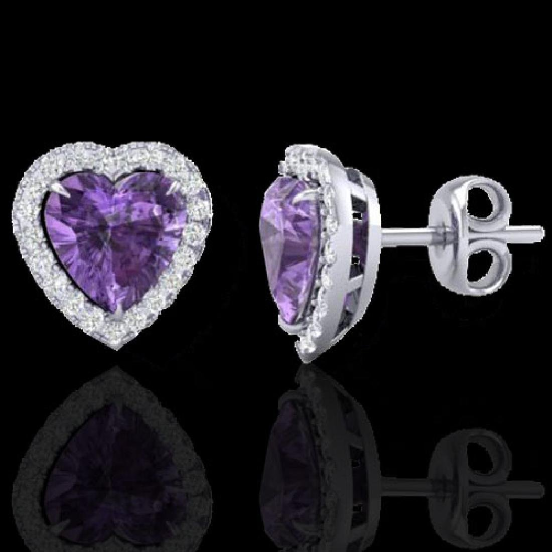 2 CTW Amethyst & Micro Pave VS/SI Diamond Earrings - 2
