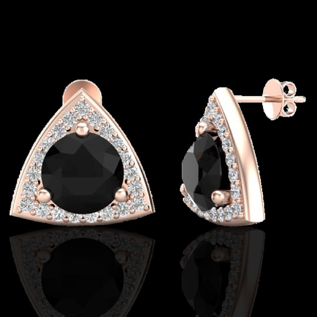 3.50 CTW Micro Pave Halo Black VS/SI Diamond Stud
