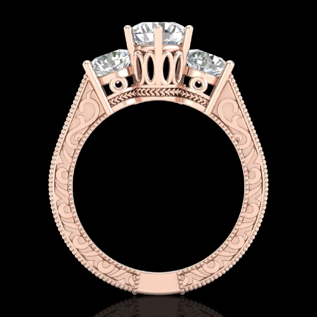 2.01 CTW VS/SI Diamond Solitaire Art Deco 3 Stone Ring