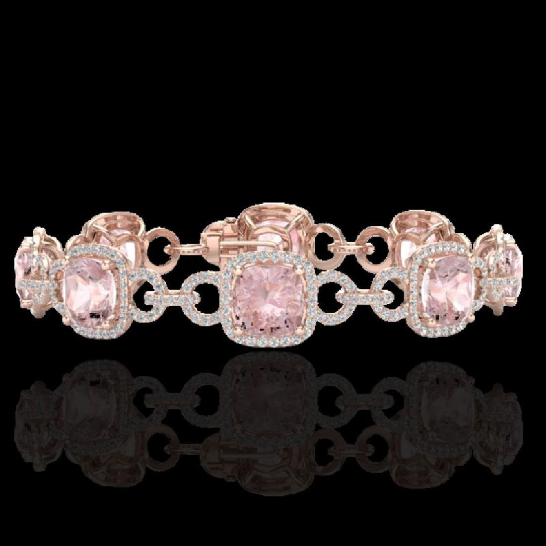22 CTW Morganite & Micro VS/SI Diamond Bracelet 14K