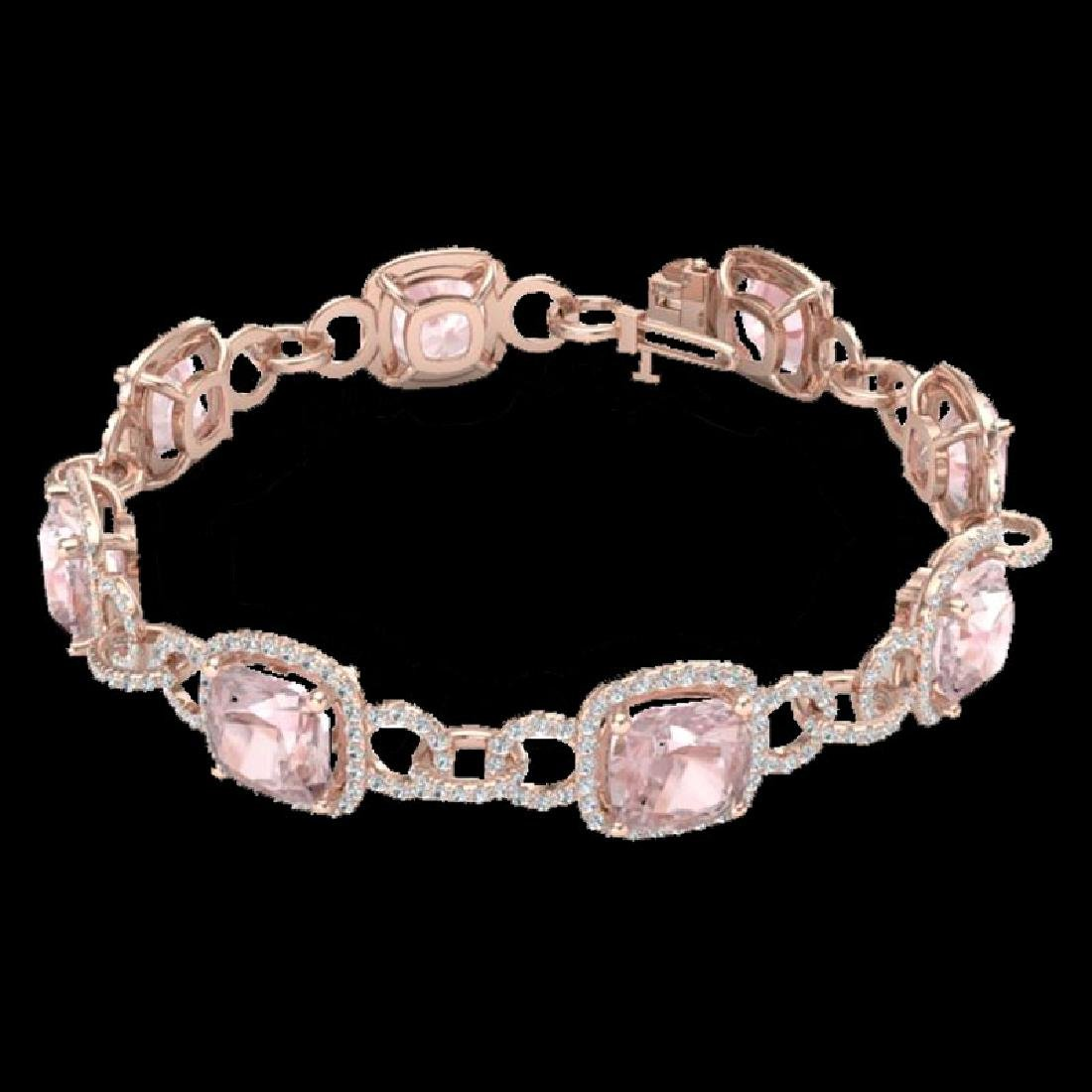 22 CTW Morganite & Micro VS/SI Diamond Bracelet 14K - 2