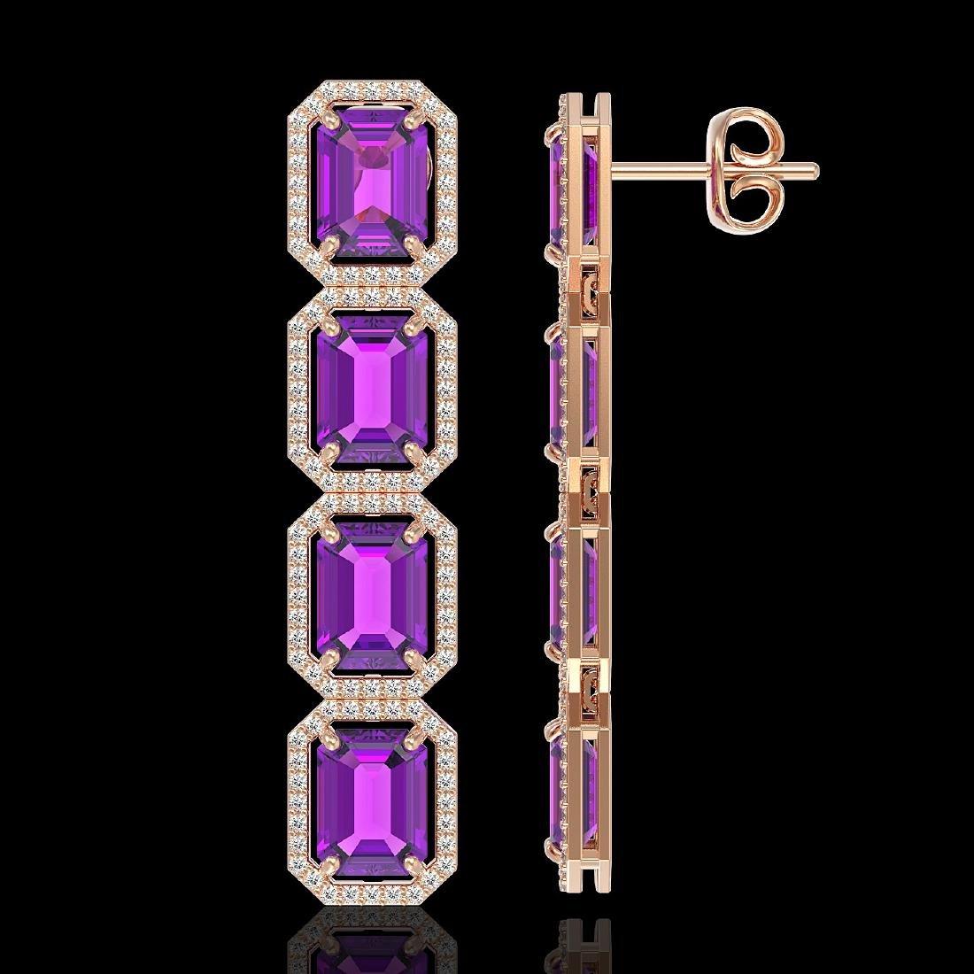 18.59 CTW Amethyst & Diamond Halo Earrings 10K Rose - 2