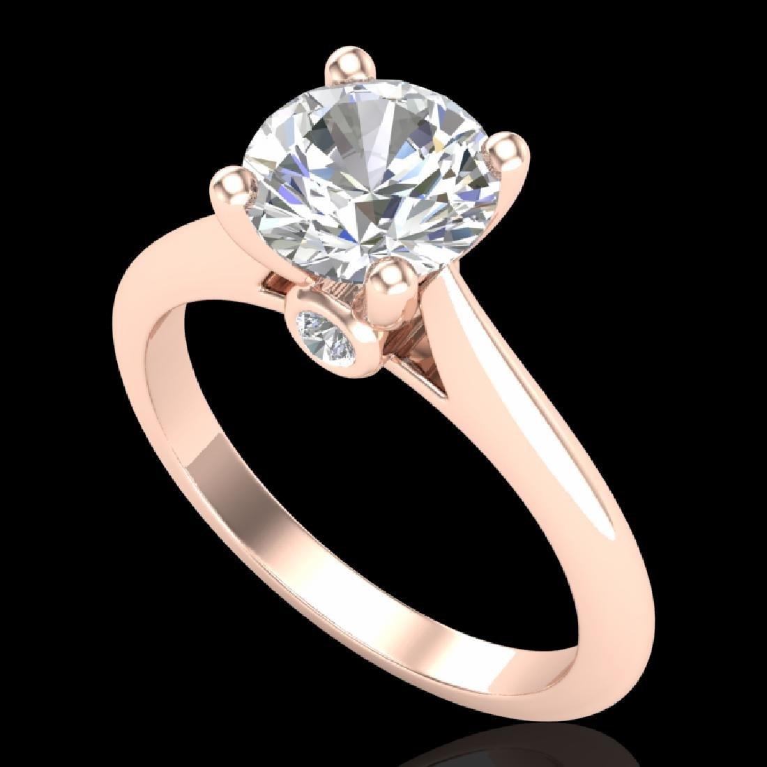 1.6 CTW VS/SI Diamond Art Deco Ring 18K Rose Gold