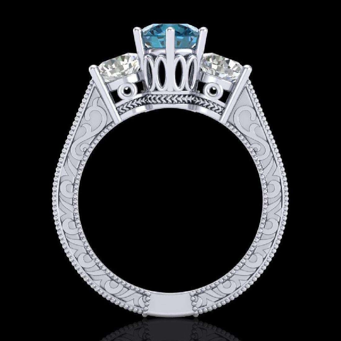 2.01 CTW Fancy Intense Blue Diamond Art Deco 3 Stone - 3