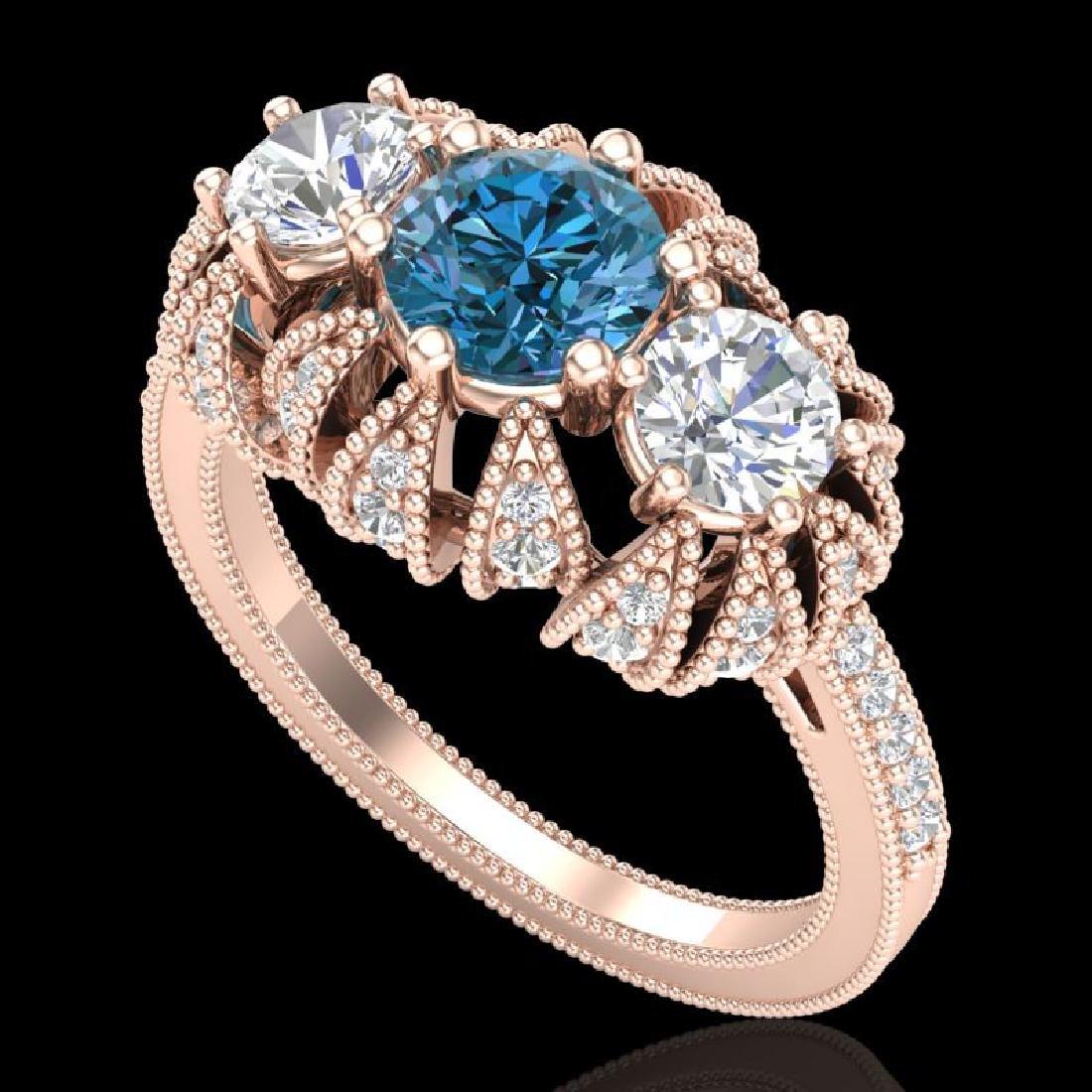 2.26 CTW Fancy Intense Blue Diamond Art Deco 3 Stone