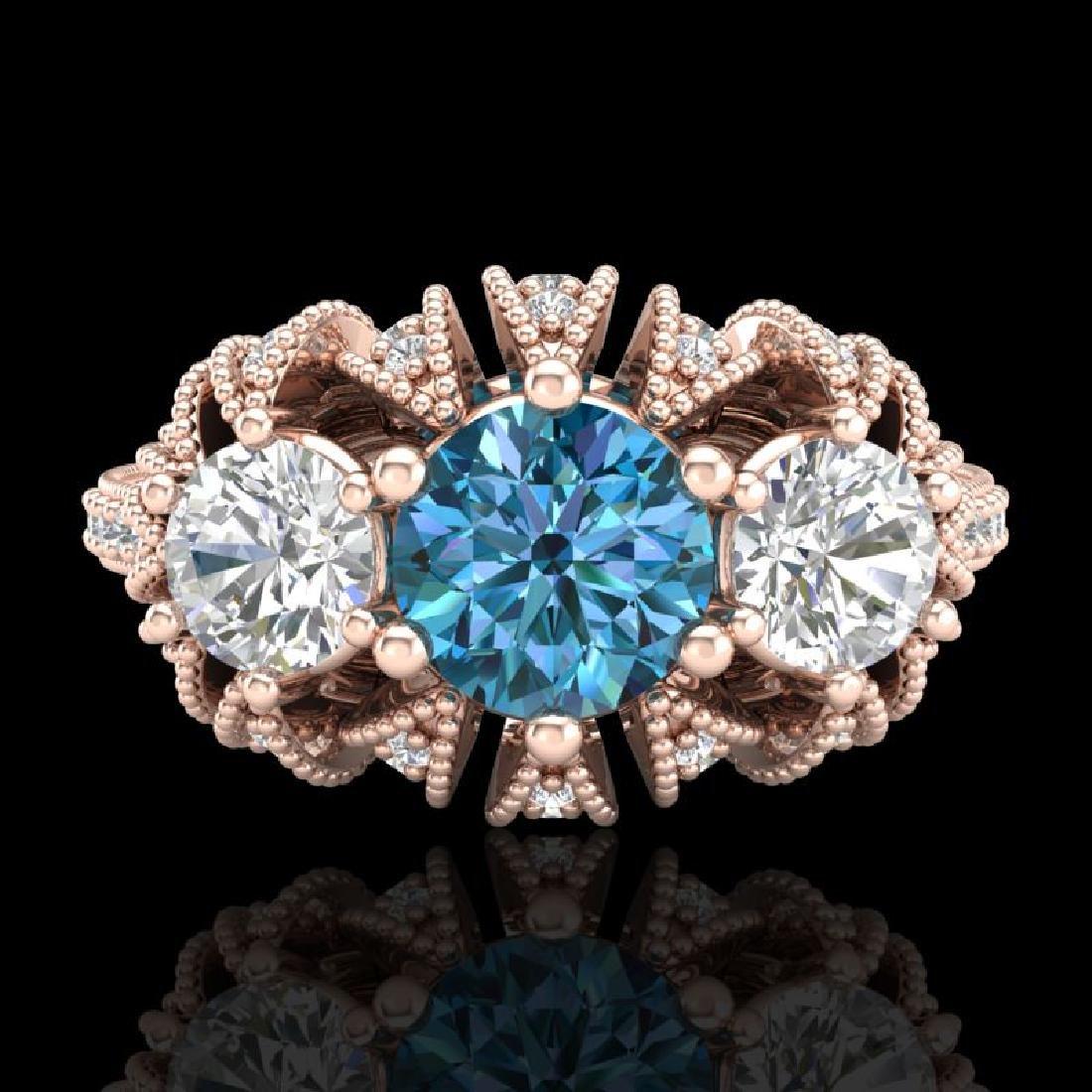 2.26 CTW Fancy Intense Blue Diamond Art Deco 3 Stone - 2