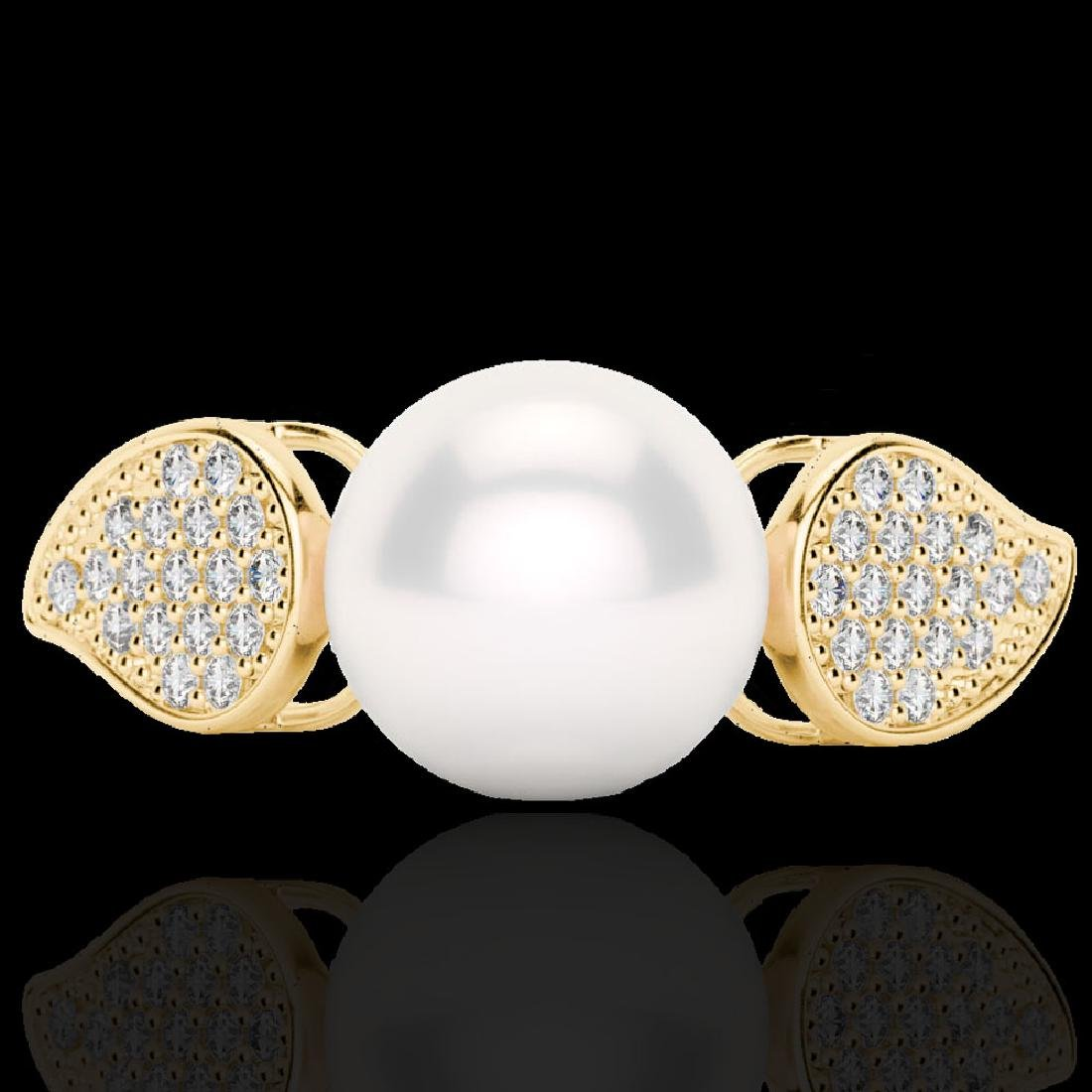 0.27 CTW Micro Pave VS/SI Diamond & Pearl Designer Ring