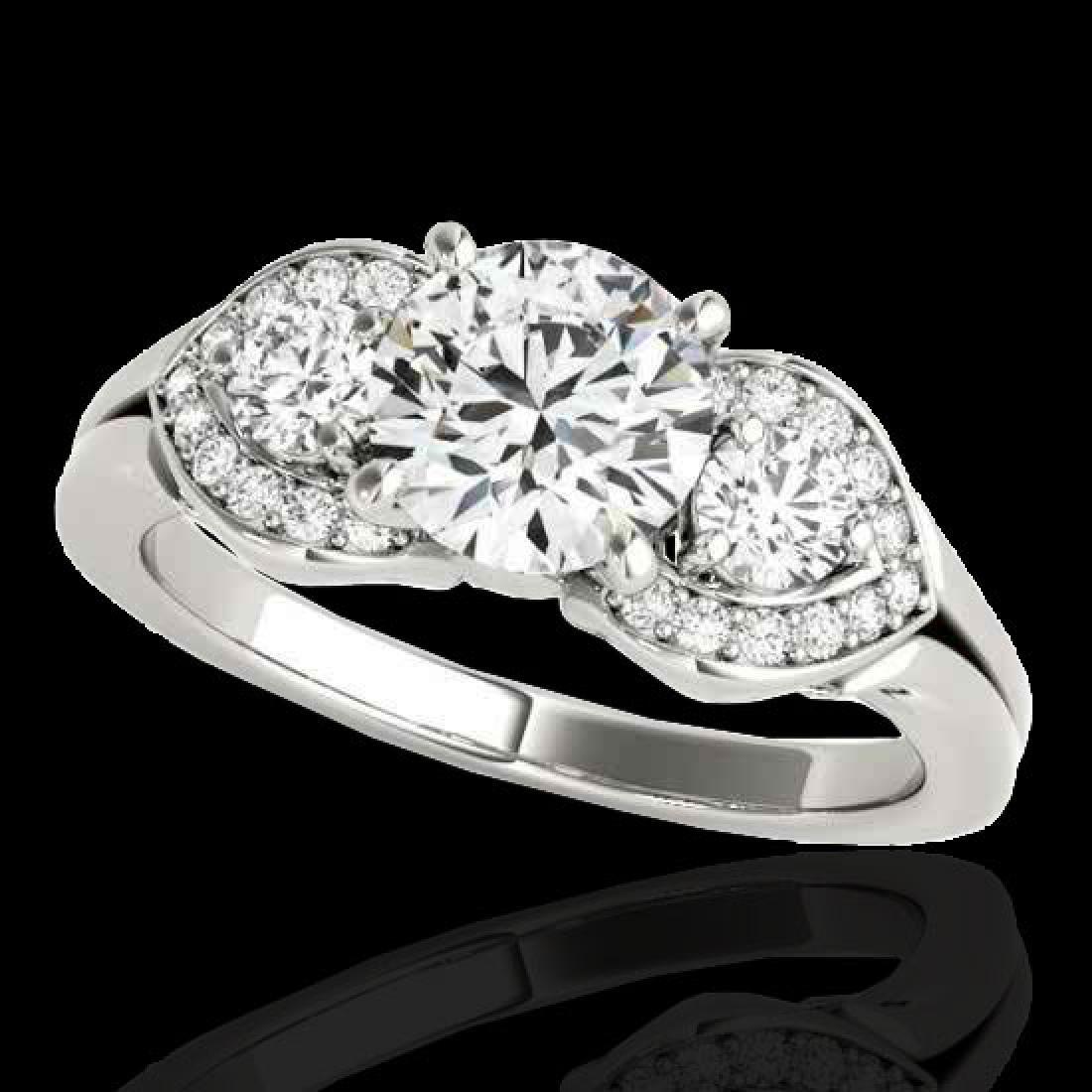 1.7 CTW H-SI/I Certified Diamond 3 Stone Ring 10K White