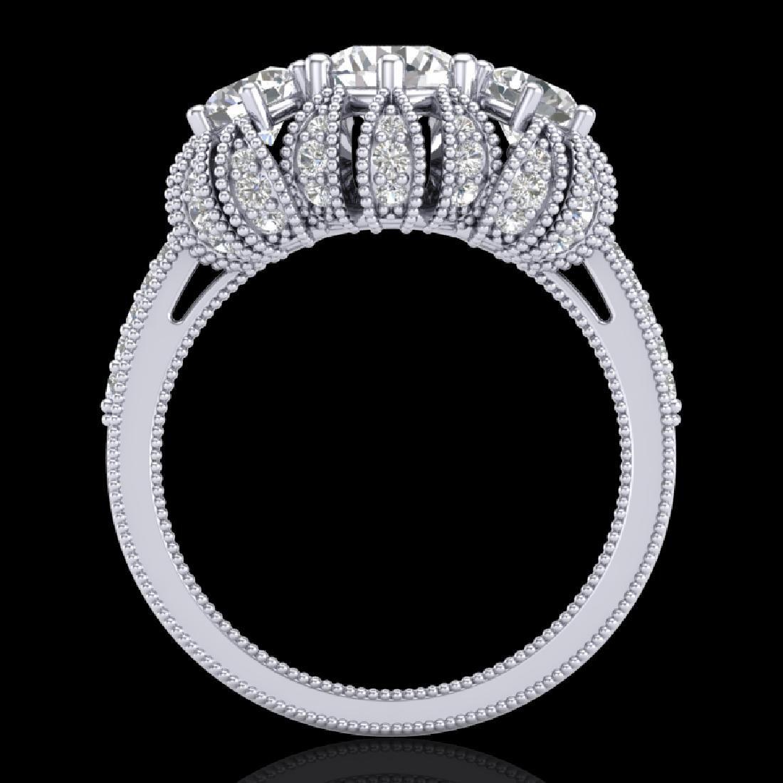 2.26 CTW VS/SI Diamond Art Deco Micro Pave 3 Stone Ring