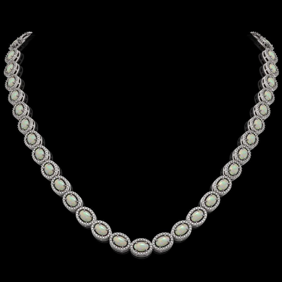 21.21 CTW Opal & Diamond Halo Necklace 10K White Gold