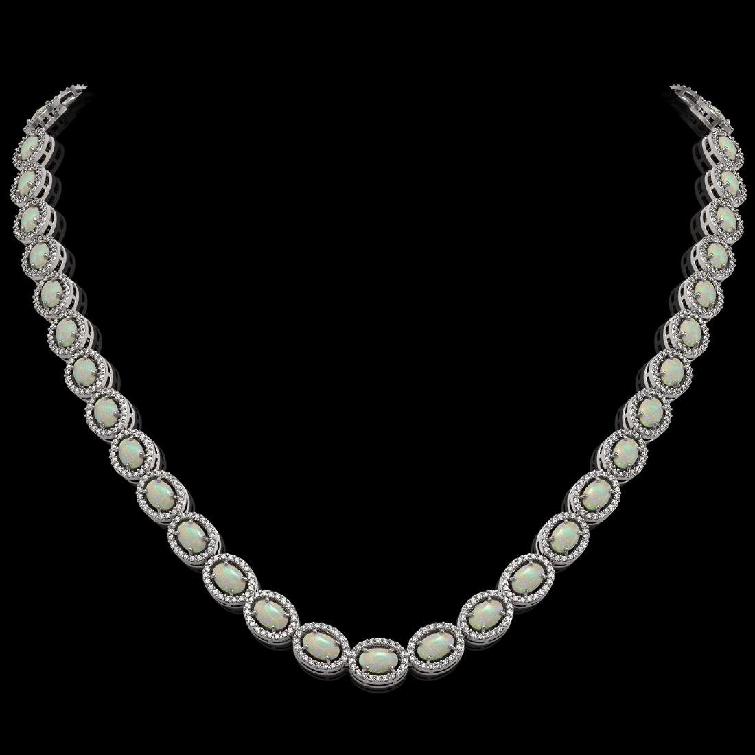 21.21 CTW Opal & Diamond Halo Necklace 10K White Gold