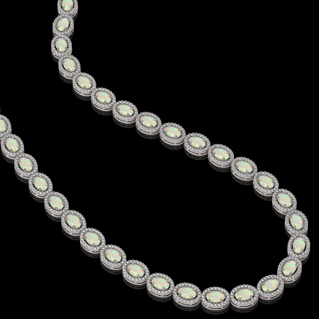 21.21 CTW Opal & Diamond Halo Necklace 10K White Gold - 2