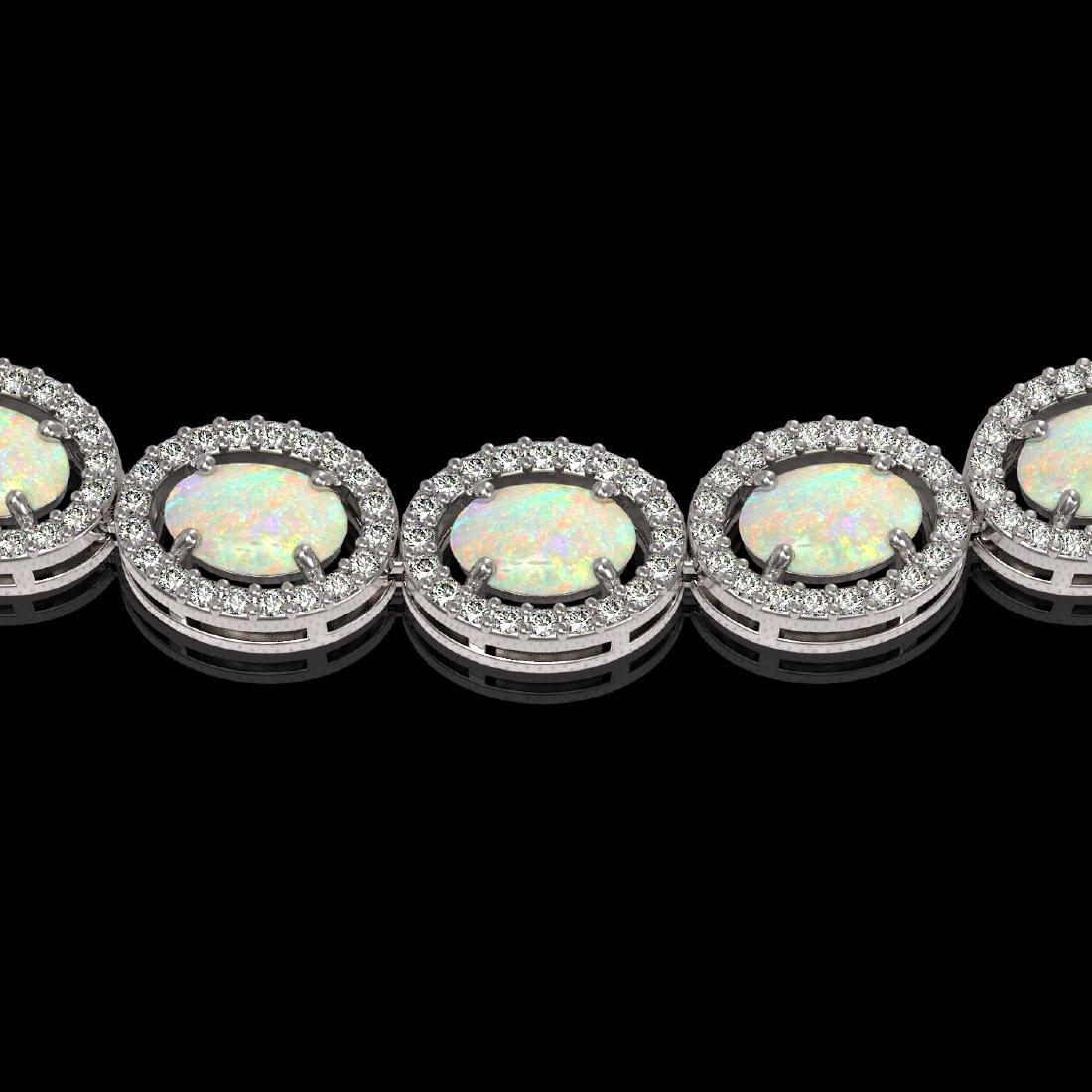 21.21 CTW Opal & Diamond Halo Necklace 10K White Gold - 3